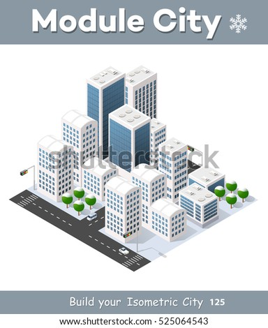 3d cityscape city street public block house from above highway intersection transportation street. Isometric winter landscape of skyscraper view of building office and residential area of construction