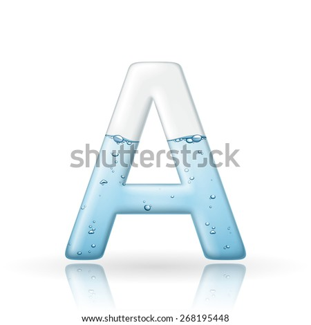3d clean water letter A isolated on white background - stock vector