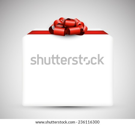 3d closed gift box with satin red bow. Realistic vector illustration.  - stock vector