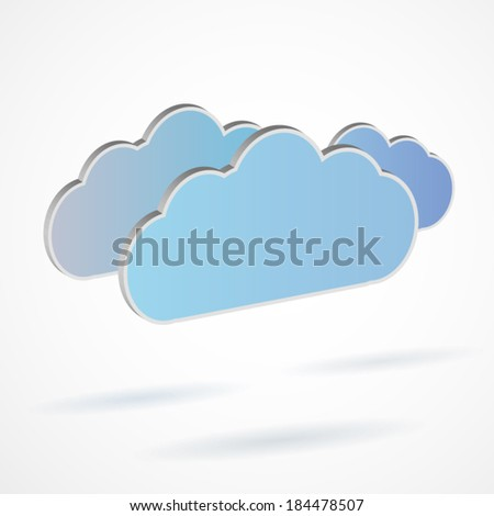 3d cloud design for business with shadows computing network service poster art
