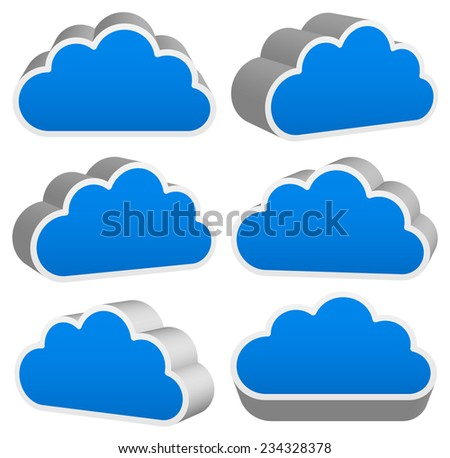 3D cloud renders with outline
