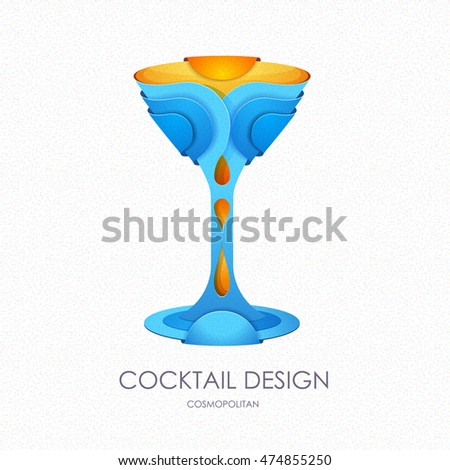 3D cocktail design. Vector icon