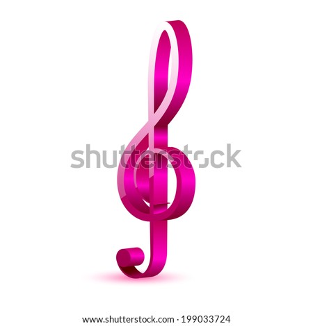 3d Color musical key  - stock vector