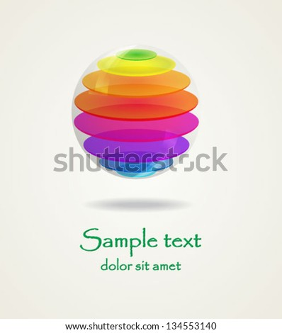 3D colorful ball in color rainbow. Business abstract icon. Abstract globe icon. As sign, symbol, logo, web, label, emblem. Corporate icon. - stock vector
