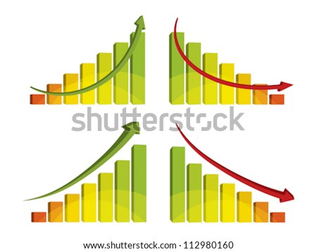 3d colorful bar chart with arrow, vector illustration - stock vector