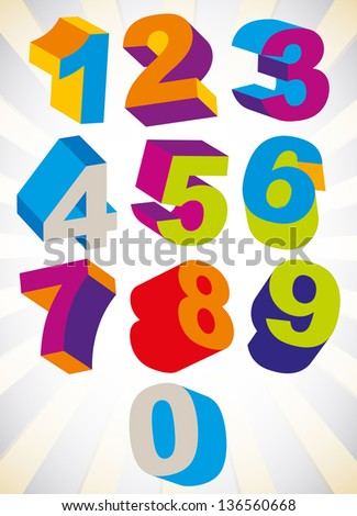 3D colorful bold numbers vector set, psychedelic colors trendy style. - stock vector