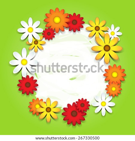 3D colorful daisies over green card with copy space - stock vector