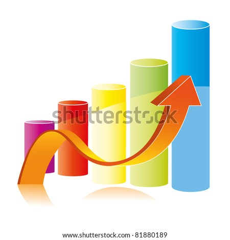 3D colorful graph arrow showing rise in profits or earnings - stock vector