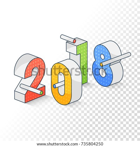 3 d colorful isometric text 2018 on stock vector hd royalty free 3d colorful isometric text 2018 on transparent background for happy new year celebration voltagebd Images