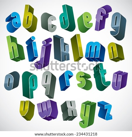 3d colorful letters alphabet, dimensional font in blue and green colors, bright and glossy letters for design and advertising. - stock vector