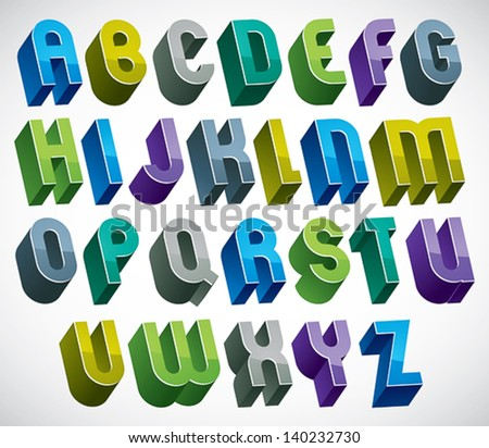 3d colorful letters bold alphabet made with round shapes, dimensional geometric font in blue gray and green colors, bright and glossy letters for design and advertising. - stock vector