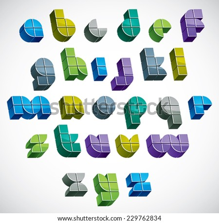 3d colorful letters futuristic alphabet made with blocks, dimensional geometric font in blue gray and green colors, bright and glossy letters for design and advertising. - stock vector