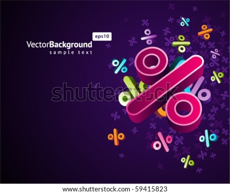 3d colorful percents vector background - stock vector