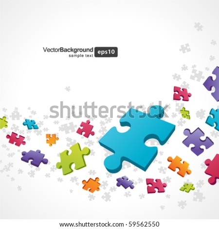 3d colorful puzzle piece vector background - stock vector