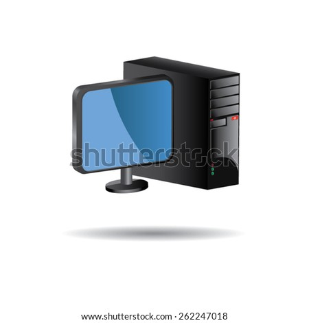 3D Computer Case with Monitor - stock vector