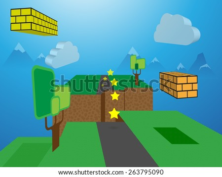 3D Computer Game World - stock vector