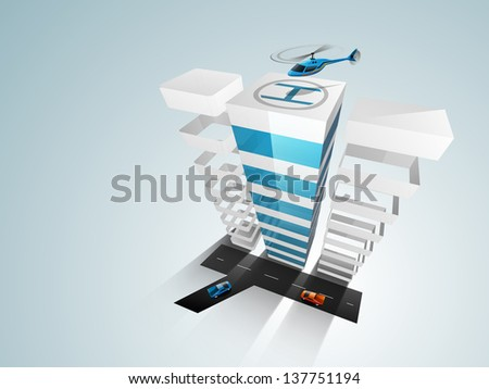 3D concept of building construction,  architecture designing concept. - stock vector