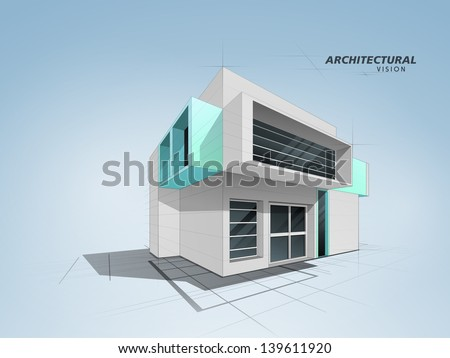 3D conceptional architectural residential designing. - stock vector