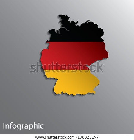 3D Country Map Layout of Germany in Eps10 Format.  Effect of Gradient tool and Blend used in this file.