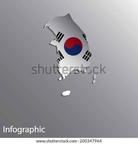 3D Country Map Layout of South Korea in Vector EPS10 Format.