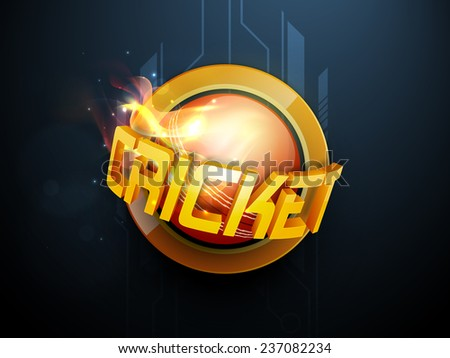 3D Cricket text with ball in flame on hi tech blue background. - stock vector