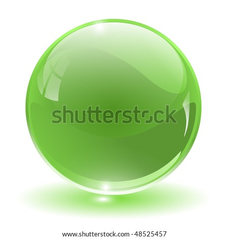 3D crystal, glass sphere, vector illustration.