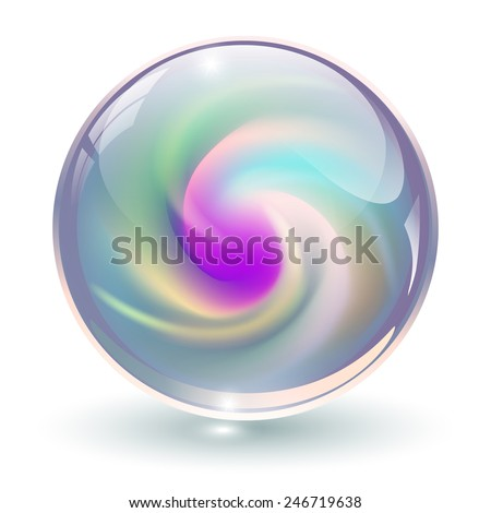 3D crystal, glass sphere with abstract spiral shape inside, vector illustration. - stock vector