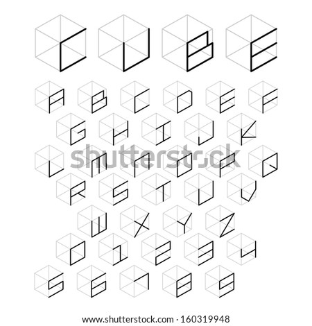 3d cube alphabet and number, vector illustration. - stock vector