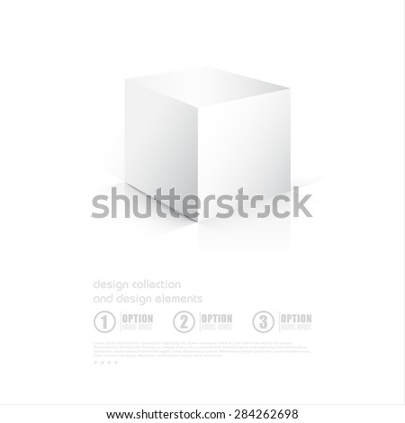 3D Cube. Box on white background with reflection. Vector illustration - stock vector
