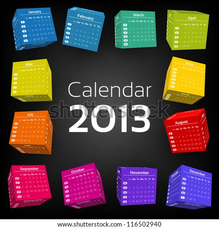 3d cube calendar 2013 - stock vector