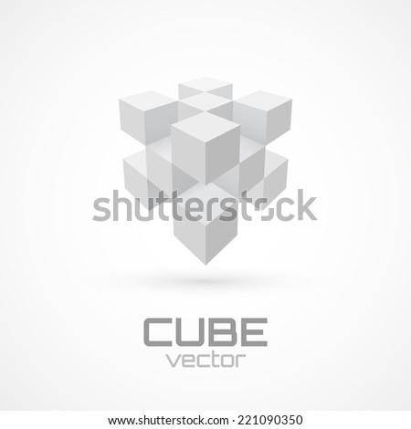 3d cube icon. Logo template. Vector illustration - stock vector