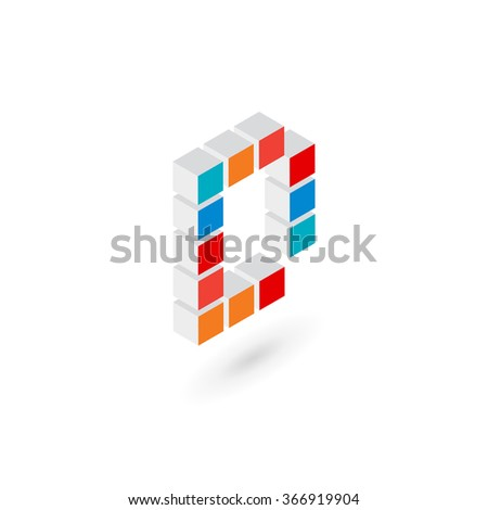 3d cube letter D logo icon design template elements