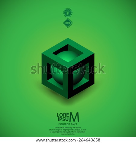 3D cube logo design. Science or technological symbol, icon, template - stock vector