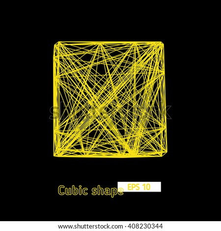 3D cube of chaotic lines yellow, network, vector object, geometric element for design - stock vector