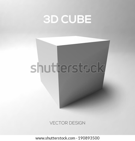 3D cube on gray background.  Vector illustration. - stock vector
