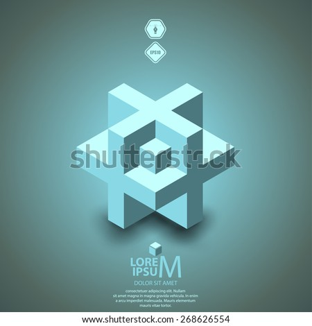 3D cube plus logo design. Science, medicine or technological symbol, icon, template - stock vector