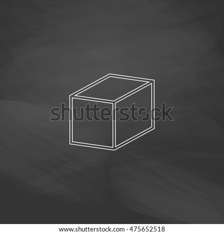 3d cube Simple line vector button. Imitation draw with white chalk on blackboard. Flat Pictogram and School board background. Outine illustration icon