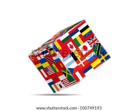 3D Cube with Flags of the World