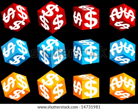 3d Cube with symbol of dollar on it - stock vector