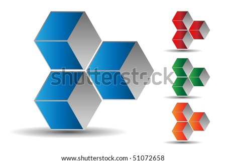 3d cubes, blue and grey, vector. - stock vector