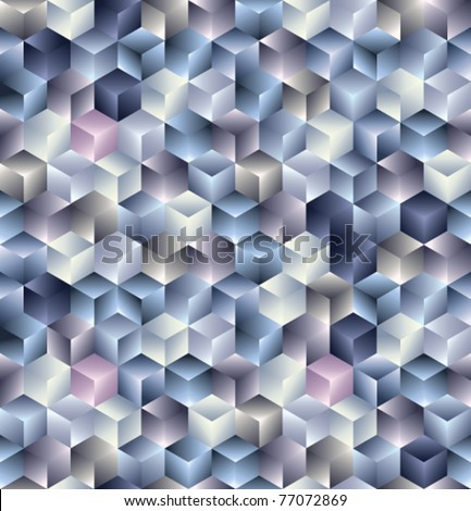 3d cubes geometric seamless pattern. Vector tiles background. - stock vector