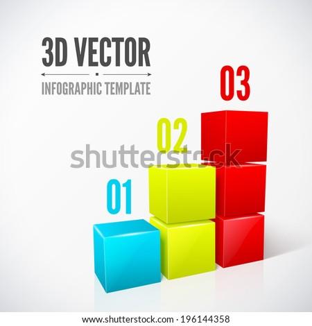 3d cubes infographics modern designlayout. - stock vector