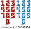 3d cubes numbers set, vector typeset, red and blue color variants. - stock photo