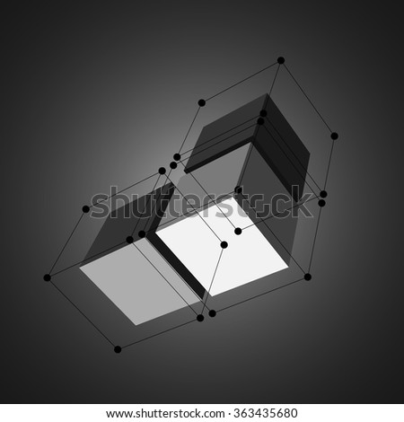 3D cubes with black dots and lines. Black cube. White cube. Vector illustration. - stock vector