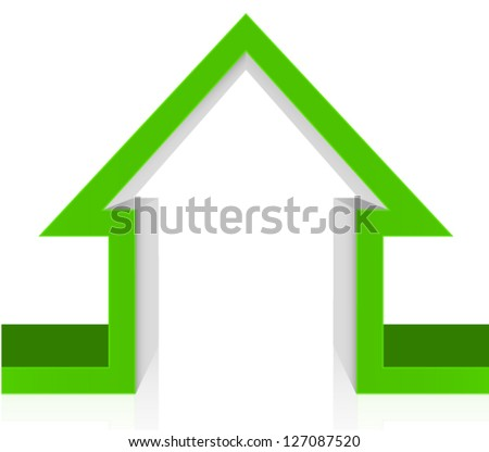 3D Cutout green house - green home icon ecology concept - stock vector