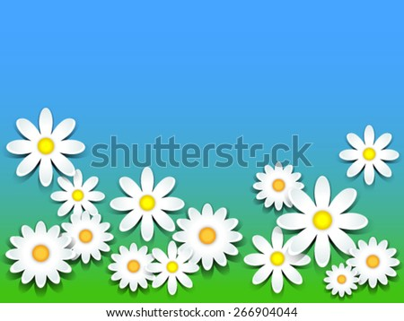 3D daisies over green grass and blue sky background, copy space - stock vector