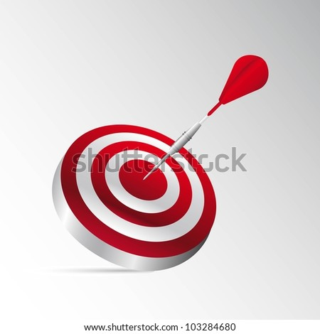 3d dartboard with red dart with shadow. vector illustration
