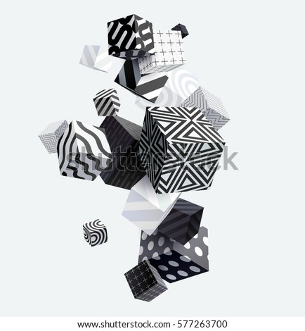 3D decorative cubes. Abstract vector illustration.