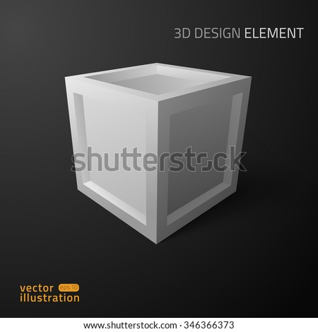 3D design element. Vector illustration of cube.