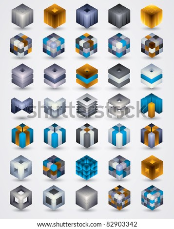 3D design elements. Collection of dimensional cubic symbols for your design projects. Shadows are transparent, ready to put over any background. - stock vector